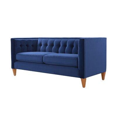 Harcourt Tuxedo Chesterfield Loveseat Upholstery: Navy Blue