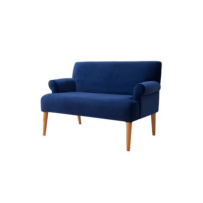 Satchell Roll Arm Settee Upholstery: Navy Blue