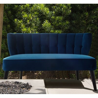 Kalea Tufted Settee Upholstery: Navy Blue
