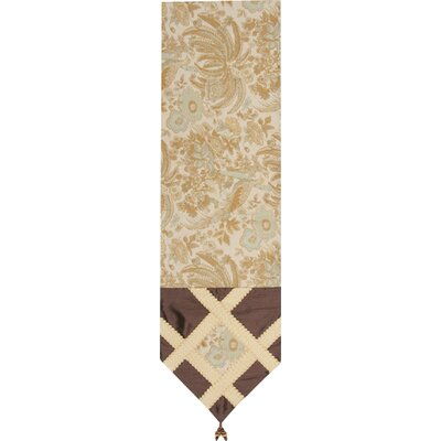 St.lucia Table Runner With Wide Braid And Ball Trim