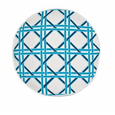 Cane Cotton Canvas Throw Pillow Color: Turquoise