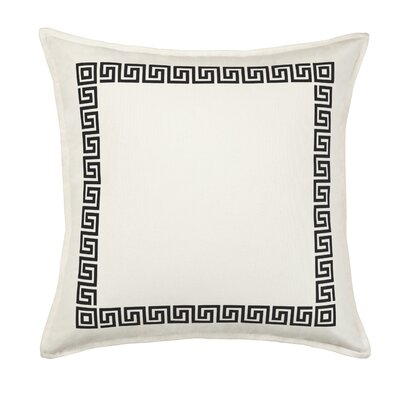 Greek Key Cotton Canvas Throw Pillow Color: Black