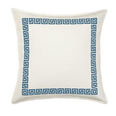 Greek Key Cotton Canvas Throw Pillow Color: Blue