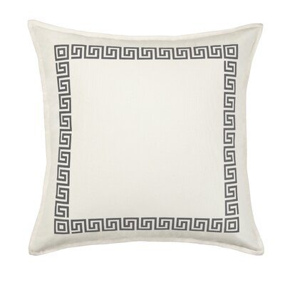 Greek Key Cotton Canvas Throw Pillow Color: Gray