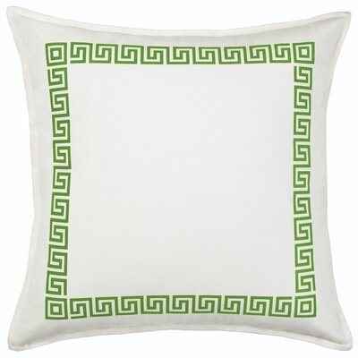 Greek Key Cotton Canvas Throw Pillow Color: Green