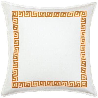 Greek Key Cotton Canvas Throw Pillow Color: Orange