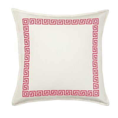Greek Key Cotton Canvas Throw Pillow Color: Rasberry