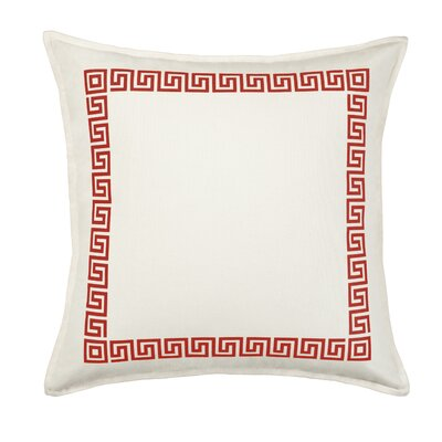 Greek Key Cotton Canvas Throw Pillow Color: Red