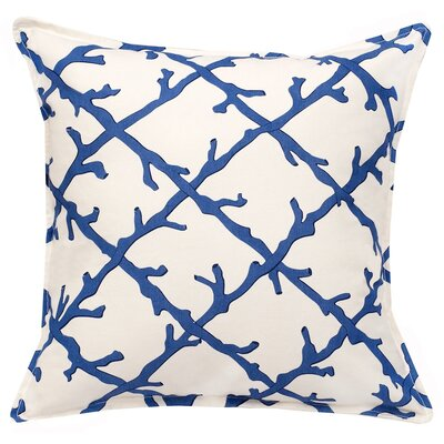 Lattice Cotton Canvas Throw Pillow Color: Blue