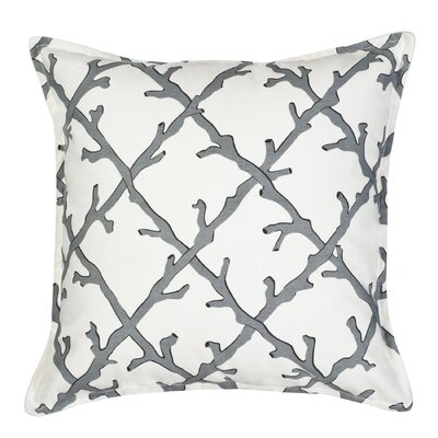 Lattice Cotton Canvas Throw Pillow Color: Gray