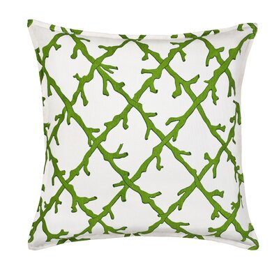Lattice Cotton Canvas Throw Pillow Color: Green
