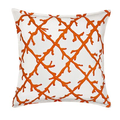 Lattice Cotton Canvas Throw Pillow Color: Orange