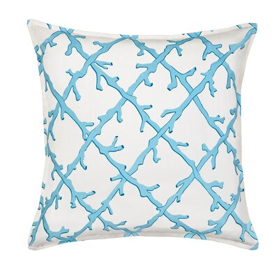 Lattice Cotton Canvas Throw Pillow Color: Turquoise