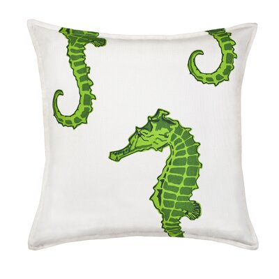Seahorse Cotton Canvas Throw Pillow Color: Green