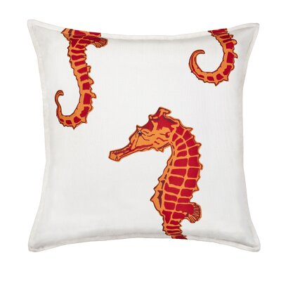 Seahorse Cotton Canvas Throw Pillow Color: Orange
