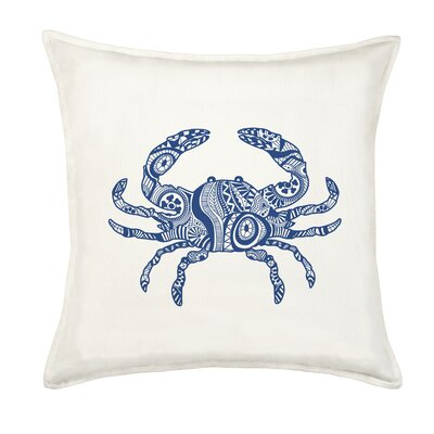 Crab Cotton Canvas Throw Pillow Color: Blue