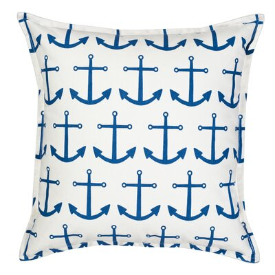 Anchor Repeat Cotton Canvas Throw Pillow Color: Blue