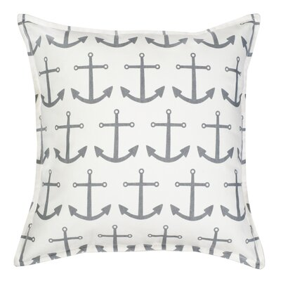 Anchor Repeat Cotton Canvas Throw Pillow Color: Gray