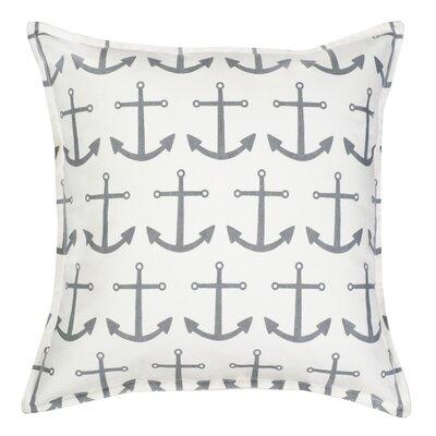 Anchor Repeat Cotton Canvas Throw Pillow Color: Gray