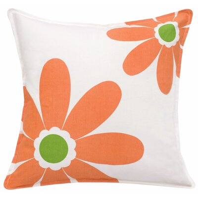 Daisy Cotton Canvas Throw Pillow Color: Orange