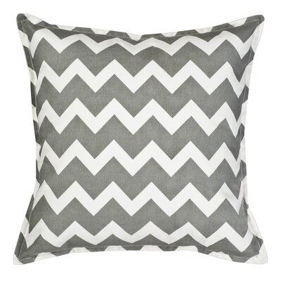 Chevron Cotton Canvas Throw Pillow Color: Gray