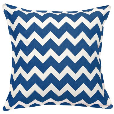 Chevron Cotton Canvas Throw Pillow Color: Marine