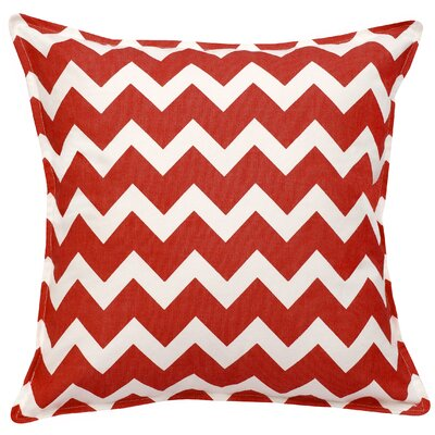 Chevron Cotton Canvas Throw Pillow Color: Red