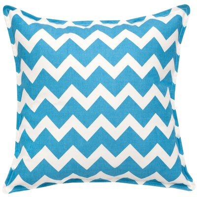 Chevron Cotton Canvas Throw Pillow Color: Turquoise