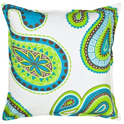 Paisley Cotton Canvas Throw Pillow Color: Green/Blue