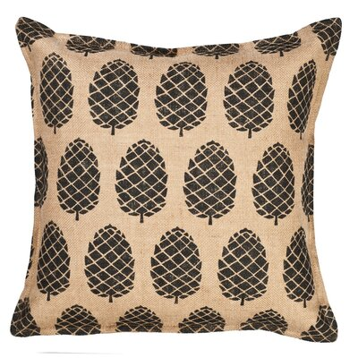 Pinecone Burlap Throw Pillow Color: Black