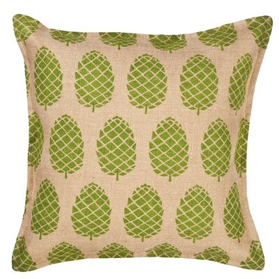 Pinecone Burlap Throw Pillow Color: Green