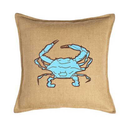 Applique Burlap Throw Pillow Color: Blue Crab