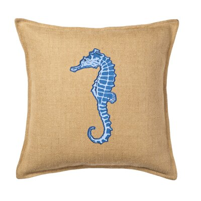 Applique Burlap Throw Pillow Color: Blue Horse