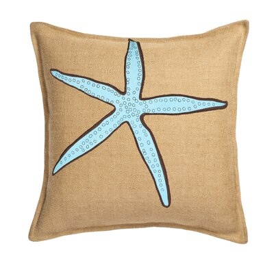 Applique Burlap Throw Pillow Color: Blue Star