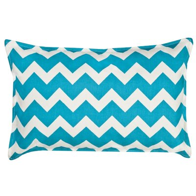 Chevron Cotton Canvas Lumbar Pillow Color: Turquoise