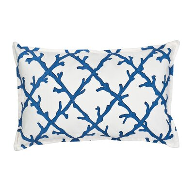 Lattice Cotton Canvas Lumbar Pillow Color: Blue