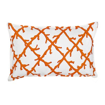Lattice Cotton Canvas Lumbar Pillow Color: Orange