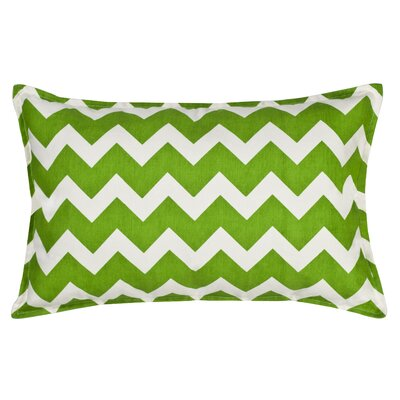 Chevron Cotton Canvas Lumbar Pillow Color: Green
