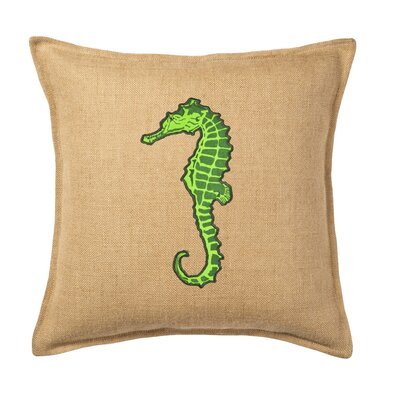Applique Burlap Throw Pillow Color: Green Horse