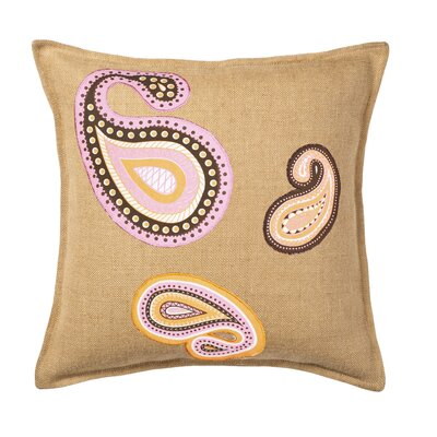 Paisley Applique Burlap Throw Pillow Color: Pink/Orange