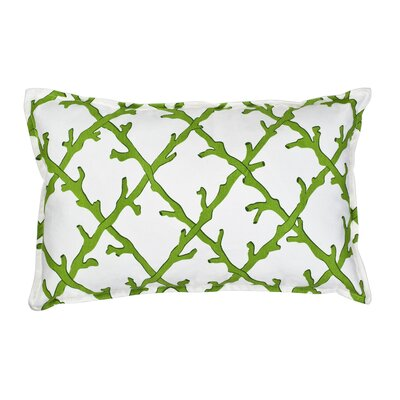 Lattice Cotton Canvas Lumbar Pillow Color: Green