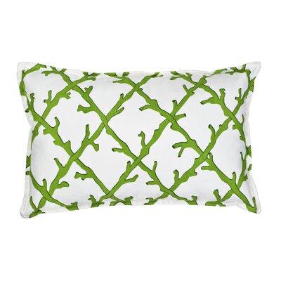 Lattice Cotton Canvas Lumbar Pillow Color: Green