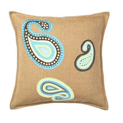 Paisley Applique Burlap Throw Pillow Color: Blue/Green