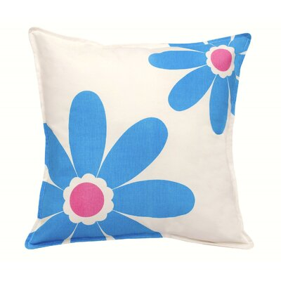 Daisy Cotton Canvas Throw Pillow Color: Blue