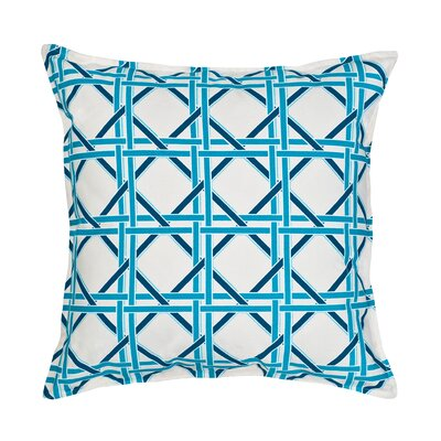 Cane Cotton Canvas Throw Pillow Color: Turquoise
