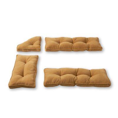 Cherokee Nook 4 Piece Bench Cushion Set Fabric: Khaki