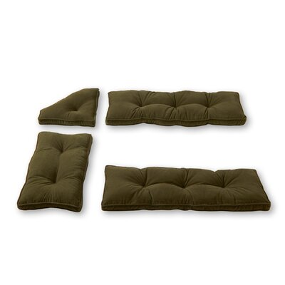 Cherokee Nook 4 Piece Bench Cushion Set Fabric: Sage Green
