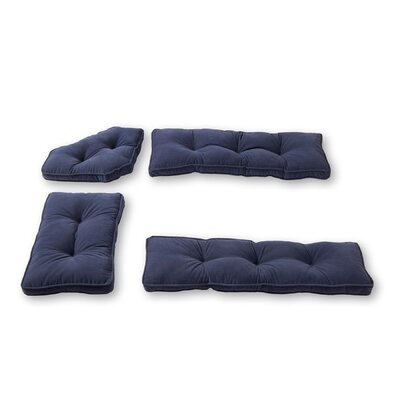 Hyatt 4 Piece Bench Cushion Set Fabric: Denim