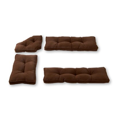 Hyatt 4 Piece Bench Cushion Set Fabric: Chocolate