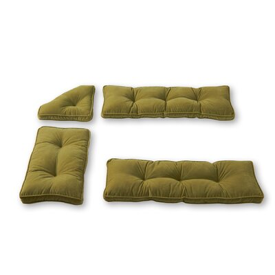 Cherokee Nook 4 Piece Bench Cushion Set Fabric: Olive